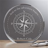 Compass Inspired Personalized Premium Crystal Award - 16716