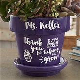 Seeds of Knowledge Personalized Flower Pot- Purple - 16740-P