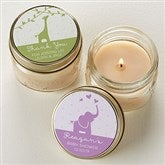 Baby Zoo Animals Personalized Mason Jar Candle Favors - 16820