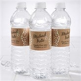 Rustic Chic Wedding Personalized Water Bottle Label - 16845