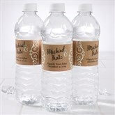 Rustic Chic Wedding Personalized Water Bottle Labels - 16845