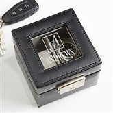 Square Monogram Engraved Leather 2 Slot Watch Box - 16855
