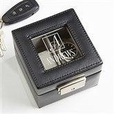 Square Monogram Engraved Leather 2 Slot Watch Box - 16855