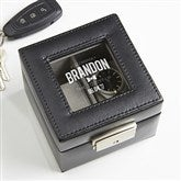 Groomsman Engraved Leather 2 Slot Watch Box - 16856