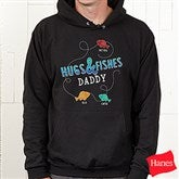 Hugs & Fishes Personalized Black Hooded Sweatshirt - 16862-BHS