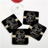 Cheers To Then & Now Personalized Anniversary Coaster Favors - 16905
