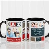 DAD Photo Collage Personalized Coffee Mug 11oz.- Black - 16920-B