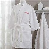 Embroidered White Kimono Robe- Name - 17001-R