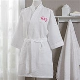 Plus Size Embroidered White Kimono Robe- Monogram - 17001-RMX