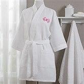 Embroidered White Kimono Robe- Monogram - 17001-RM