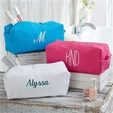 Embroidered Waffle Weave Cosmetic Bag - 17001-BM