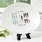 Wedding Characters Personalized Glass Platter - 17009