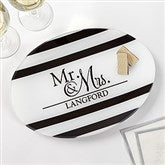 Wedded Pair Personalized Glass Platter - 17010