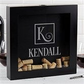 Square Monogram Personalized Wine Cork Shadow Box - 17020
