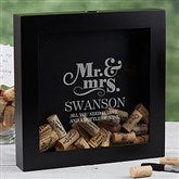 The Happy Couple Personalized Wine Cork Shadow Box - 17024