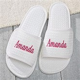 Embroidered White Waffle Weave Spa Slippers- Name - 17026-N