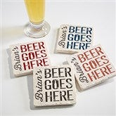 Beer Goes Here Personalized Tumbled Stone Coaster Set - 17037