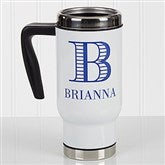 Striped Monogram Personalized Commuter Travel Mug - 17045