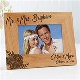Modern Chic Wedding Engraved Personalized Picture Frame - 4 x 6 - 17109
