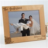 Modern Chic Wedding Engraved Personalized Picture Frame- 8 x 10 - 17109-L