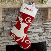 Reindeer Personalized Crochet Christmas Stocking - 17144-R