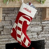 Candy Cane Personalized Crochet Christmas Stocking - 17144-C