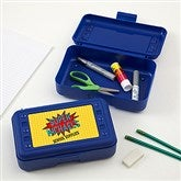 Super Hero Personalized Pencil Box - Blue - 17222-B