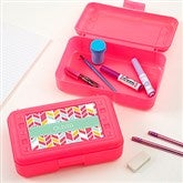 Geometric Shapes Personalized Pencil Box - Pink - 17223-P-T