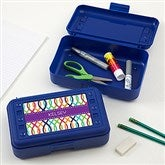 Geometric Shapes Personalized Pencil Box - Blue - 17223-B-T