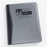 Sophisticated Style Personalized Silver & Black Portfolio - 17251