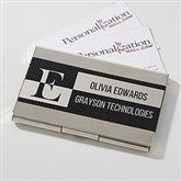 Sophisticated Style Black & Silver Personalized Business Card Case - 17254