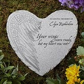 Your Wings Personalized Memorial Heart Garden Stone