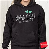 Grandma Established Personalized Black Hooded Sweatshirt - 17305-BHS