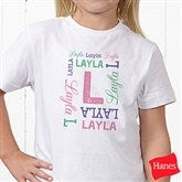 Repeating Name Personalized Hanes® Youth T-Shirt - 17315-YCT
