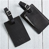 First Class Debossed Personalized Black Luggage Tag - 17329-B