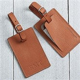 First Class Debossed Personalized Tan Luggage Tag - 17329-T