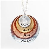 Mixed Metals Personalized Stackable Hammered Disc Necklace - 4 Disc - 17333D-4