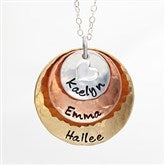 Mixed Metals Personalized Stackable Hammered Disc Necklace - 3 Disc - 17333D-3