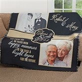 Cheers To Then & Now Anniversary Personalized Woven Throw - 17377
