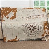 Compass Inspired Retirement Personalized Woven Throw - 17384
