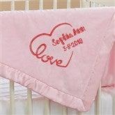 Baby Love Embroidered Keepsake Blanket- Pink - 17401-P