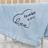 Baby Love Embroidered Keepsake Blanket- Blue - 17401-B