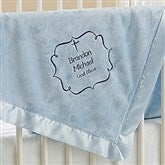 Joyful Blessing Embroidered Keepsake Blanket- Blue - 17402-B
