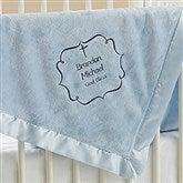 Joyful Blessing Embroidered Keepsake Blanket- Blue - 17402-B