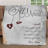 You're All I Need Personalized Premium Sherpa Blanket - 17426