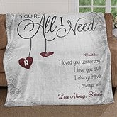 You're All I Need Personalized 60x80 Fleece Blanket - 17427-L