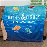 Hugs & Fishes Personalized Premium 50x60 Sherpa Blanket - 17435