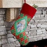 Christmas Argyle Personalized Photo Stocking - 17442-P