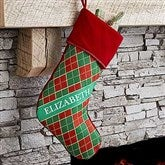 Christmas Argyle Personalized Stocking - 17442-NP