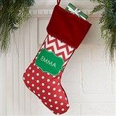 Preppy Chic Personalized Burgundy Christmas Stocking - 17445